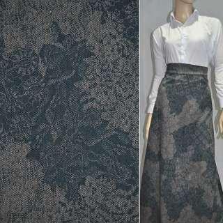 Твид бирюзово-серый с цветами ш.150