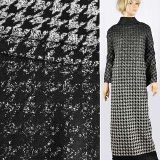 Полушерсть двухслойная пальтово-костюмная Аrmani гусиная лапка рапорт черно-молочный, ш.152