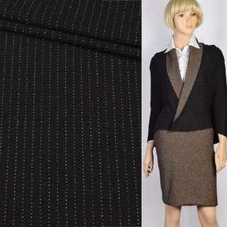 Трикотаж костюмный шерстяной двухсторонний черный в бежевую полоску, ш.130
