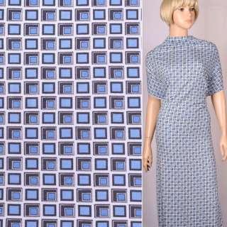 "Вискоза стрейч трикотаж "" Vertraven"" бело-серо-голубой геометрический рисунок ш.150"