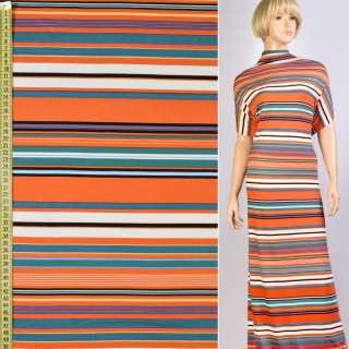Трикотаж вискозный стрейч в полосы оранжеве, белые, черные, бирюзовые, ш.153