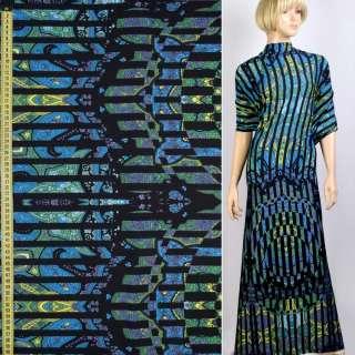 Трикотаж вискозный стрейч в сине-зеленый узор, черные полоски, ш.155