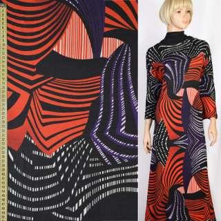Трикотаж в красно-черные, фиолетовые волны, раппорт 120см, ш.155