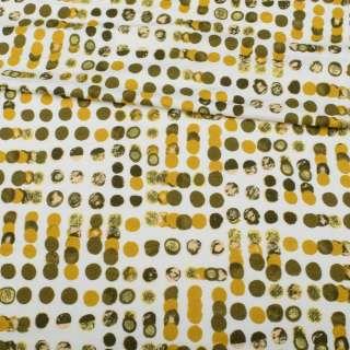Трикотаж вискозный стрейч белый, оливковый, горчичный горох, ш.150