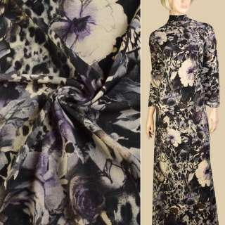 Трикотаж бежевый, черно-сиреневые цветы, бабочки, ш.150
