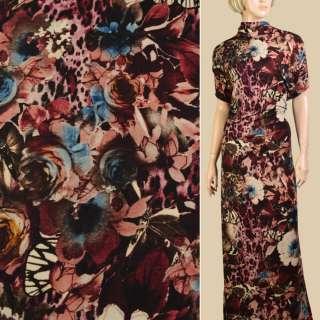 Трикотаж бежевый, черно-бордовые цветы, бабочки, ш.152