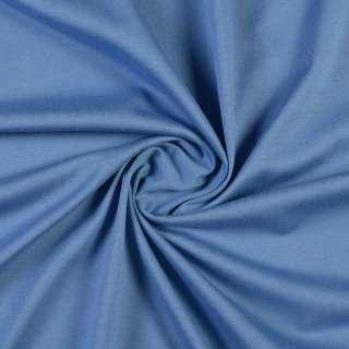 Трикотаж хлопковый голубой темный, ш.150