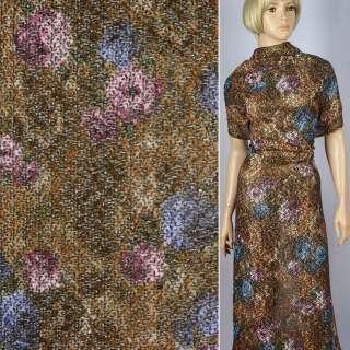 Трикотаж ажурный меланжевый фиолетово-бежево-коричневый с золотым штампом ш.150