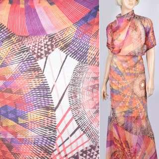 Шелк красно-фиолетовым+желтым абстрактный рисунком (принт) ш.140