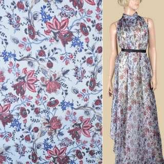 Шелк голубой с бордовыми цветами ш.133
