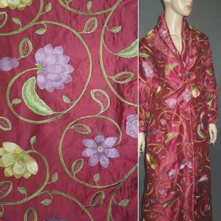 Шелк вишневый с вышитыми цветами ш.160