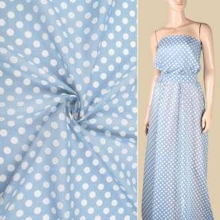 Шелк с хлопком серо-голубой в белый горох ш.150
