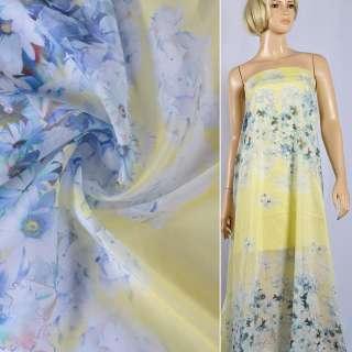 Шелк с хлопком желтый с бледно-голубыми цветами Германия ш.135