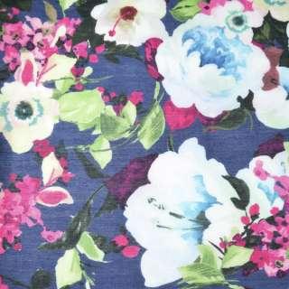 Шелк синий с молочно-розовыми цветами ш.137
