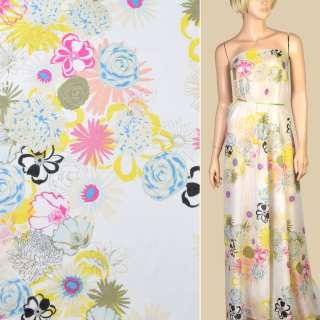 Шелк с хлопком белый, желтые, розовые, голубые цветы, ш.132