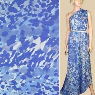 Шелк с хлопком белый в сине-голубые акварельные цветы, ш.140