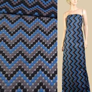 Шелк полиамид черный с вышивкой монеты синие, серые, черные и, ш.150