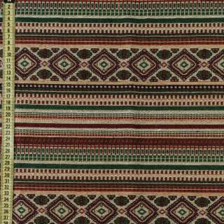 Гобелен в красно-бежевый + зеленый орнамент, ш.150