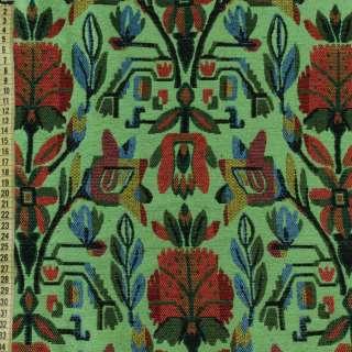 Гобелен зеленый с красно-синими цветами, ш.150
