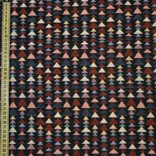 Гобелен черный в цветные треугольники ш.150