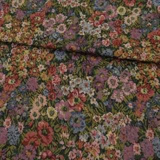 Гобелен в сиреневые, голубые, красные цветы, ш.150