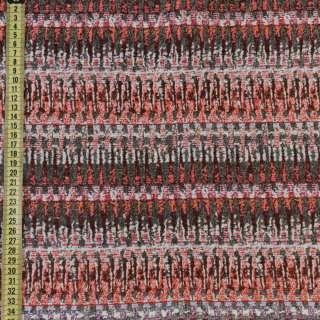 Гобелен серый в оранжево-бежевые зигзаги ш.150