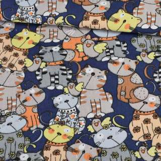 Деко-коттон коты на синем фоне, ш.150