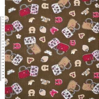 Деко-коттон коричневый с сумочками ш.150