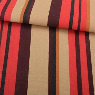Деко-коттон коричнево-красные, горчичные полоски ш.150