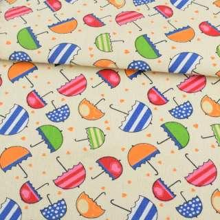 Деко-коттон кремовый с разноцветными зонтиками ш.150