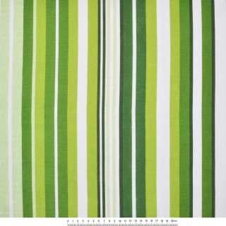 Деко-коттон бело-зеленые и темно-зеленые полоски ш.150