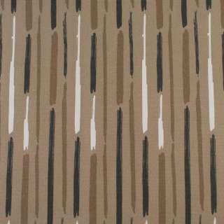 Деко-коттон бежевый в белые, коричневые серые широкие штрихи, ш.150