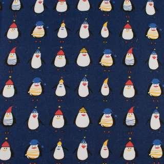 Деко-коттон синий, пингвины в шапочках, ш.150