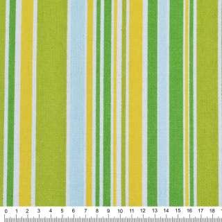Деко-коттон салатово-желтые, зелено-голубые полоски ш.150