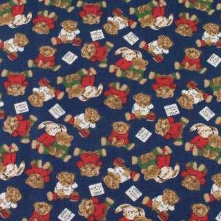 Деко-коттон синий, плюшевые мишки, зайки, ш.150