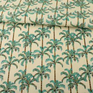 Деко-коттон молочный, зеленые пальмы, ш.150