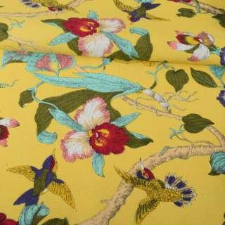 Деко-коттон желтый, орхидеи, птички, ш.150