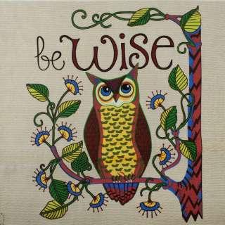 Деко-коттон бежевый, сова на ветке, раппорт 94см (наволочка 47х47см), ш.150