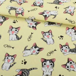 Деко-коттон желтый светлый, серо-белый котенок Чи, ш.150