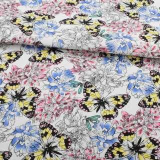 Деко-коттон белый, розовые, голубые цветы, желто-черные бабочки, ш.150