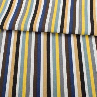 Деко-коттон желто-серые, бело-синие, бежевые полоски, ш.150