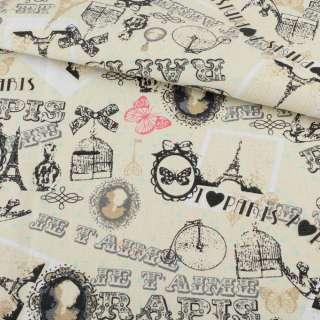 Деко-коттон кремовый, бабочки, открытки, Paris, ш.150
