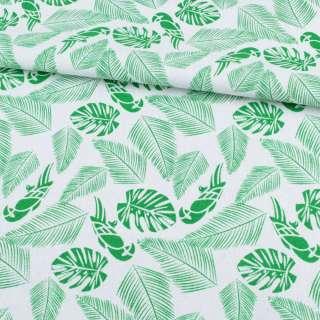 Деко-коттон белый, зеленые тропические листья, попугаи, ш.150