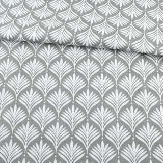 Деко-коттон серый, белые листья ш.150