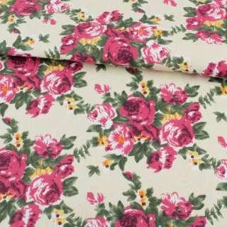 Деко-коттон кремовый, малиновые розы, ш.150