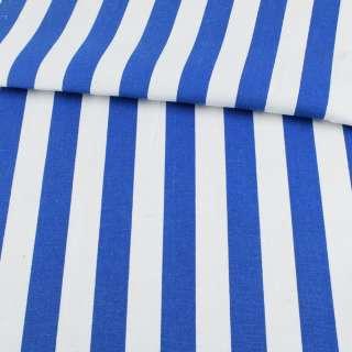 Деко-коттон в бело-синюю широкую полоску ш.150