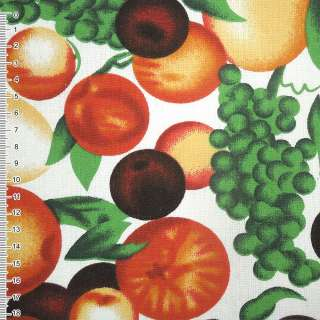 Ткань мебельная белая с фруктами ш.150