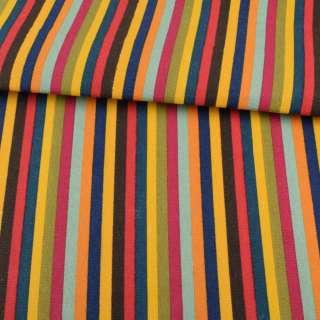 Деко-коттон сине-желтые, коричнево-красные, зелено-малиновые полоски ш.146