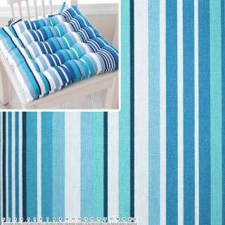 Деко-коттон в бирюзово-голубую, сине-белую полоску ш.150