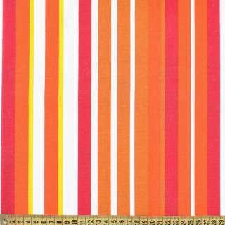 Деко-коттон коричнево-белые, бордово-оранжевые полоски ш.150